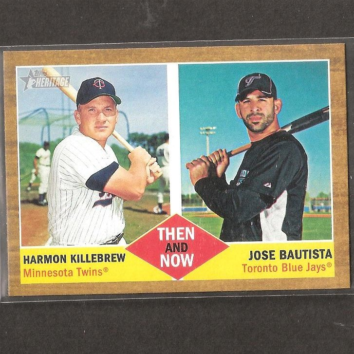 JOSE BAUTISTA & HARMON KILLEBREW - 2011 Topps Heritage Then & Now