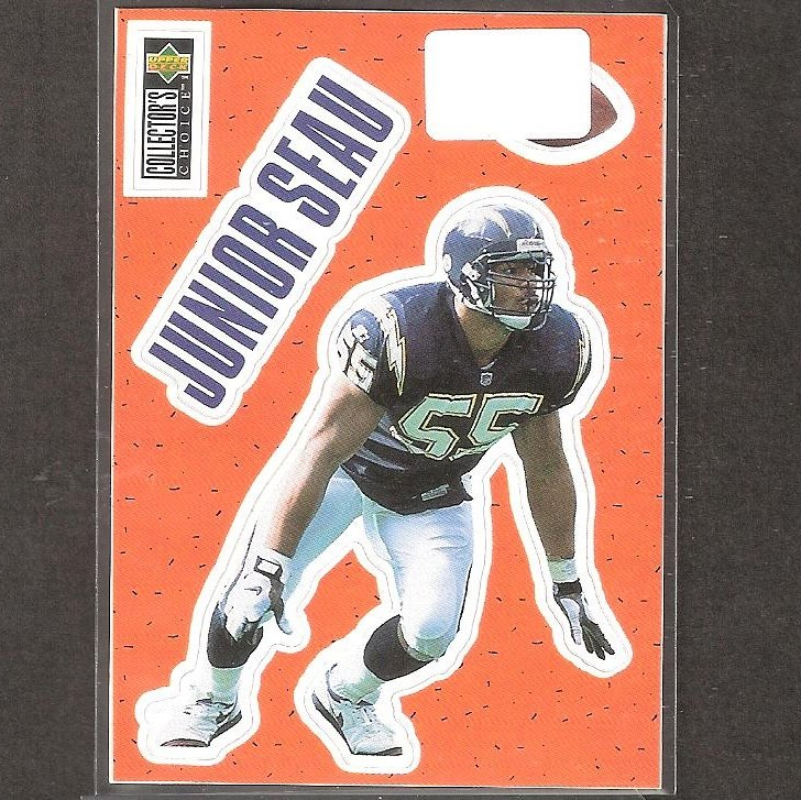 JUNIOR SEAU - 1996 Upper Deck Collector's Choice Stick-Um - Chargers & USC Trojans