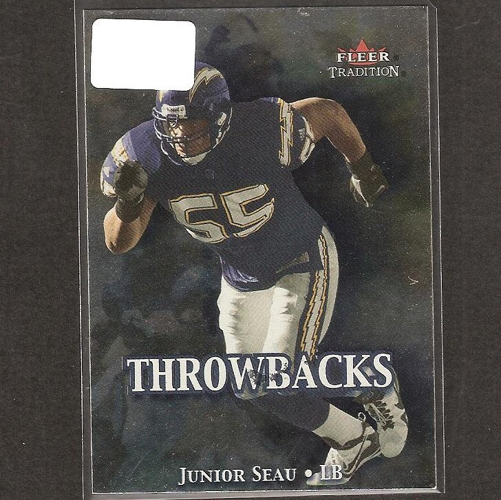 JUNIOR SEAU - 2000 Fleer Tradition Throwbacks - Chargers & USC Trojans