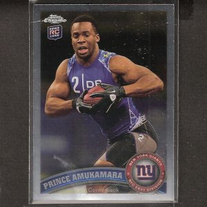 PRINCE AMUKAMARA 2011 Topps Chrome Rookie Card RC - NY Giants & Nebraska Cornhuskers