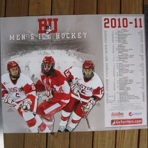 2010-11 NCAA Hockey Boston University Terriers SCHEDULE POSTER - Connolly, Pereira, Warsofsky