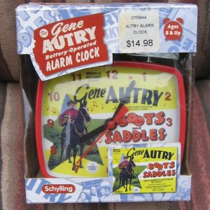 GENE AUTRY Battery Operated Alarm Clock - Schylling Reproduction 2004