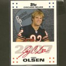 GREG OLSEN 2007 Topps Premier RED Autograph Rookie RC - Carolina Panthers & Miami Hurricanes