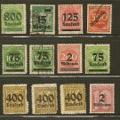 Germany Overprint Postage Stamp Lot - 1923 - Scott 243,251,252,255,264,269,274,275,276,O2,O28,O38