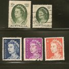 Australia Queen Elizabeth Definitives Postage Stamp Lot x5
