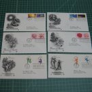 US Postal FDC Artcraft Cachet Lot x6 Plate/Blocks of 4 -Flowers, Dance, Energy