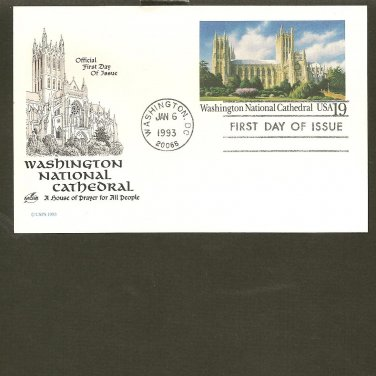 1993 USPS Card Artcraft FDC Scott #UX166 - Washington, DC- National Cathedral First Day of Issue