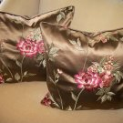 PAIR OF EMBROIDERED HIGH END SILK ACCENT PILLOWS- NEW!