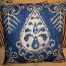 DENIM BLUE IKAT ACCENT PILLOW NEW