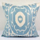 Silk & Cotton Ikat Accent Pillow Blue