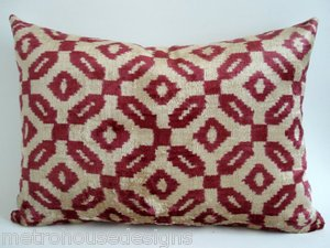 HAND LOOMED VINTAGE SILK VELVET IKAT ACCENT PILLOW