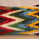 Silk Velvet Multi Colored ZigZag Pillow