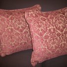 PAIR OF STROHEIM & ROMANN HAND SOFT CHENILE DAMASK PILLOWS