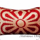 SILK VELVET IKAT ACCENT PILLOW ~ RED ON CREAM