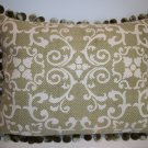 Custom made Celedon designer pillow with chenille ball fringe