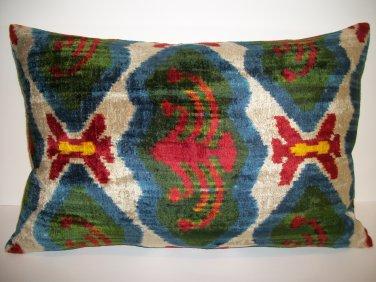 Silk Velvet Ikat Pillow ~ Avairy