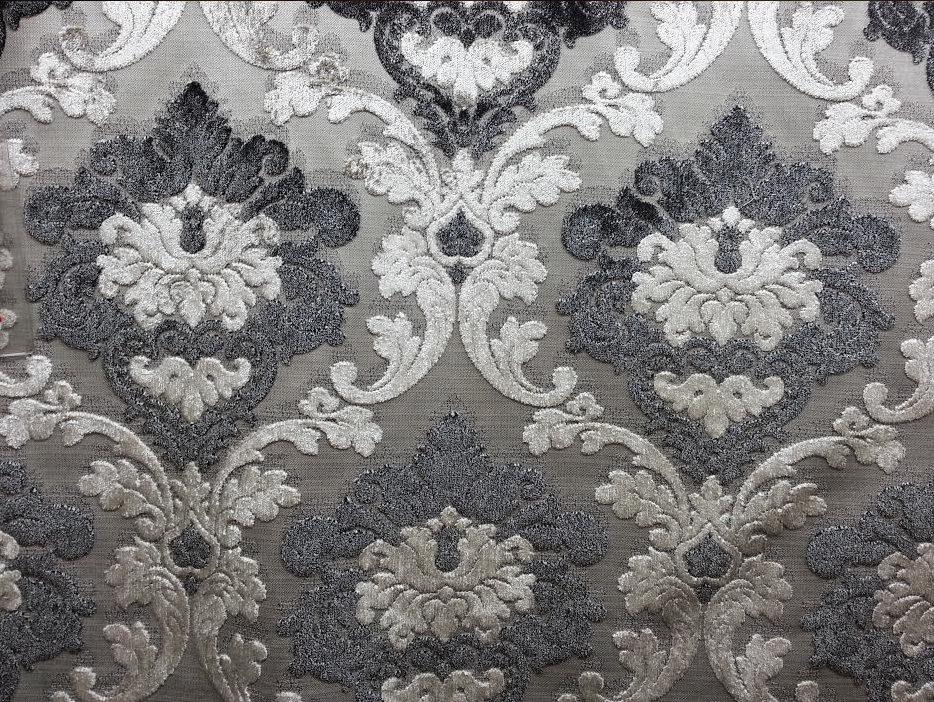 Parisian Velvet Graphite Smoke Silver And Grey Damask New