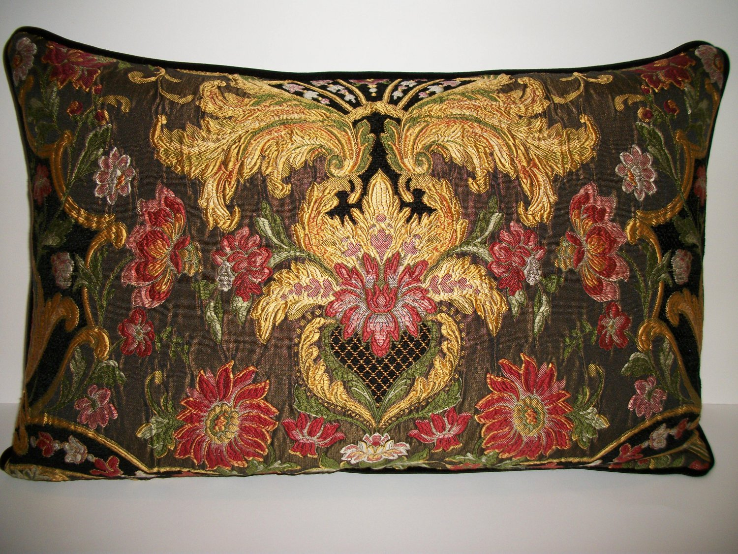 AUBUSSON TAPESTRY CHENILLE LUMBAR PILLOW