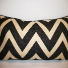 BURLAP CHEVRON LUMBAR PILLOW FRAMED WITH KRAVET SUEDE WELT