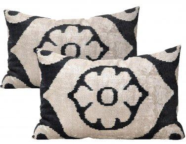 Pair Of Allary Silk Velvet Ikat Pillows
