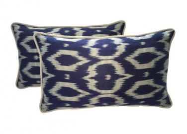 Pair Of Navy Blue & Gray Silk Atlas Ikat Pillows