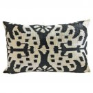 Black and Beige Silk Velvet Ikat Pillow