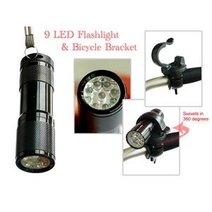 Bicycle Bracket Clip for Flashlight 9 LED Flashlight as a Present