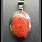 Red Coral in Silver Frame Pendant