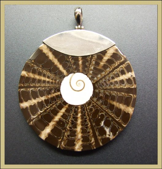 Large Crossed Cut Shell Pendant in silver