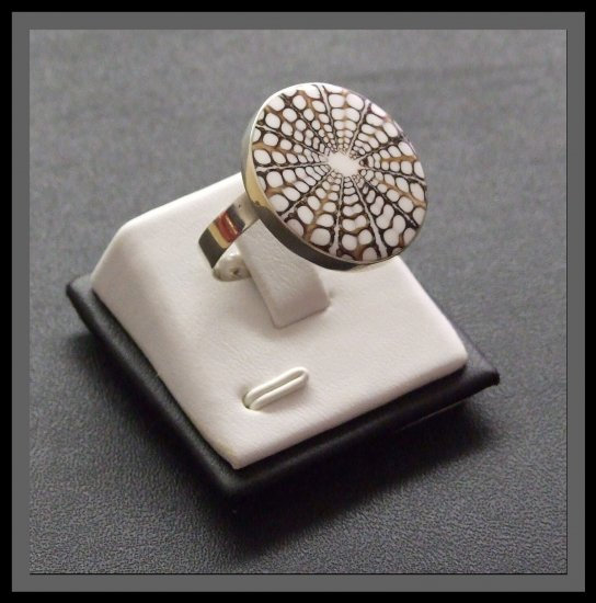 Adjustable Silver Ring with Shell - White & Brown