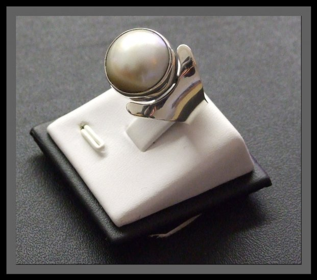 Adjustable Silver Ring With Synthetic White Pearl