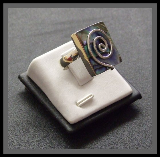 Adjustable Square Silver Ring with Mother Of Pearl