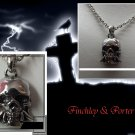 Gothic Skull On Chain Necklace - Chrome