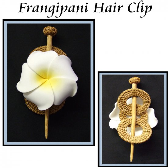 Frangipani On Grass Woven Hair-Clip with wooden Pin