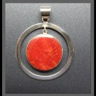 Double Circular Silver Pendant with Coral