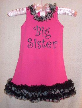 Hot Pink Big Sister Zebra Chiffon Ruffled Dress