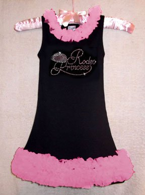"""Rhinestone """"RodeoPrincess"""" Chiffon Ruffled Dress"""