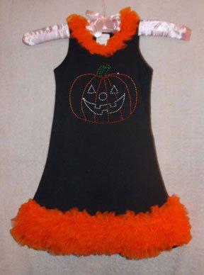 Rhinestone Pumpkin Chiffon Ruffled Dress
