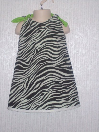 girl 39 s zebra print neon green reversible a line dress. Black Bedroom Furniture Sets. Home Design Ideas