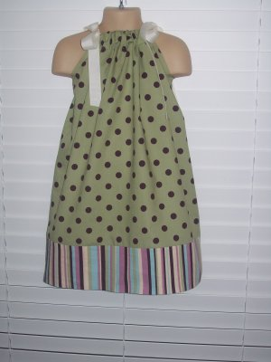 Sage Green Deep Purple Polka Dot Pillowcase Dress