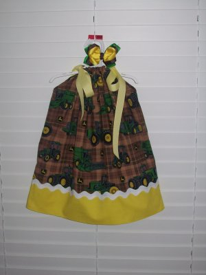 John Deere Pillowcase Dress, 12/18 Months Matching Bow