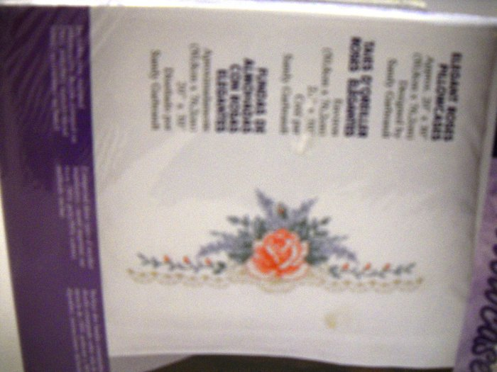 Stamped Embroidery from Bucilla/Plaid (2001 Made in USA) - Elegant Roses Pillowcases
