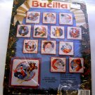 Cross Stitch Ornaments kit from Bucilla (1993) - Set of 12 Santa Collage