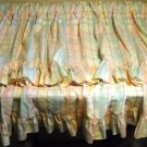 Pastel Plaid Two Tiered Window Curtain Panels Each Tier Trimmed With Ruffle - Set of 2  Handcrafted