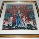 Completed Framed (with glass) Needlepoint Picture - Medieval Tapestry Design