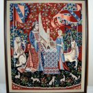 Completed Framed (without glass) Needlepoint Picture - Medieval Tapestry Design