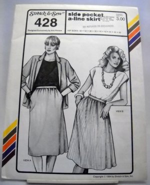 Pattern 428 from Stretch & Sew(1984) - side pocket a-line skirt