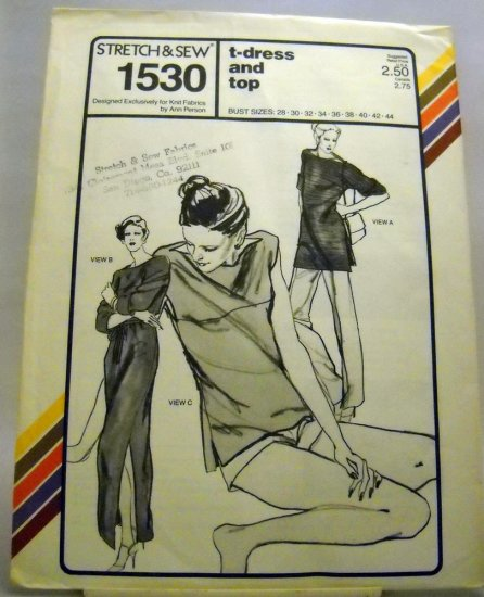 Pattern 1530 from Stretch & Sew(1979) - t-dress and top