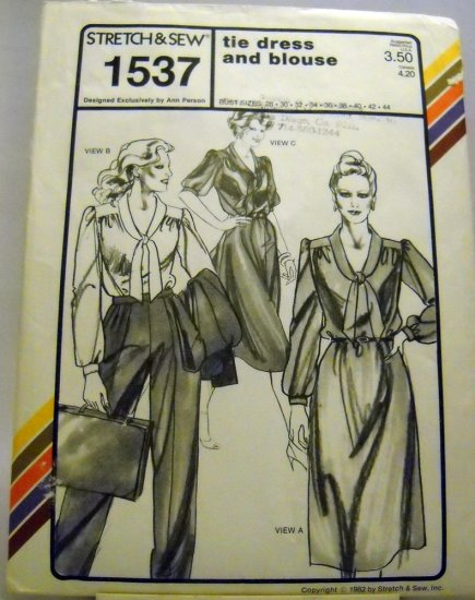 Pattern 1537 from Stretch & Sew(1982) - tie dress and blouse