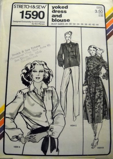 Pattern 1590 from Stretch & Sew(1979) - yoked dress and blouse